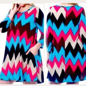 Plus Size Chevron Print Tunic Top Dress XL 2X 2XL